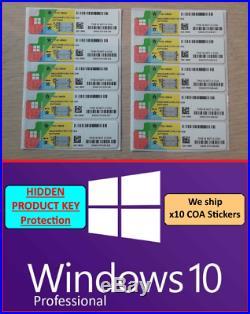 X10 LICENSES WINDOWS 10 PROFESSIONAL PRO HIDDEN PRODUCT KEY STICKER COA uk