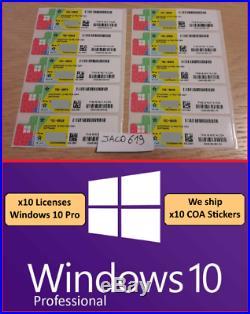 X10 LICENSE WINDOWS 10 PROFESSIONAL PRO 32/64 BIT STICKER COA en