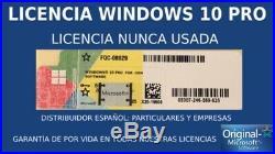 X5 Licencia Windows 10 Pro COA PEGATINA STICKER FQC-08929 LICENCIA 32/64 Bit